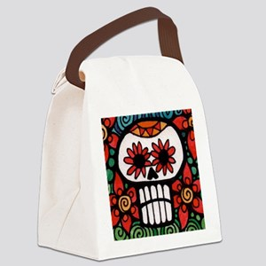 Day of the Dead Flower Skull Canvas Lunch Bag