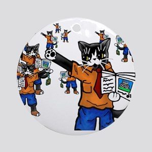 Tour guide Cats Round Ornament
