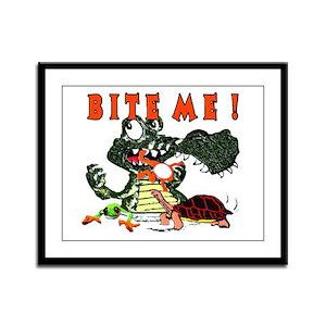 Bite me ! Alligator Framed Panel Print