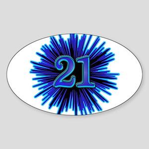 21st Blue Spray Oval Sticker