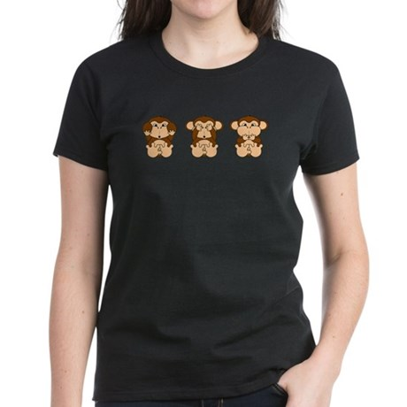 Monkey Hear, See, Speak No Evil Women's Dark T-Shi
