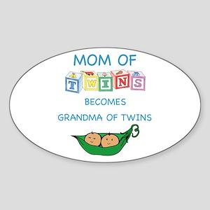 Mother Grandma Twins Blocks Oval Sticker