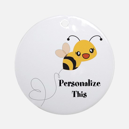 Personalized Cute Bumble Bee Round Ornament