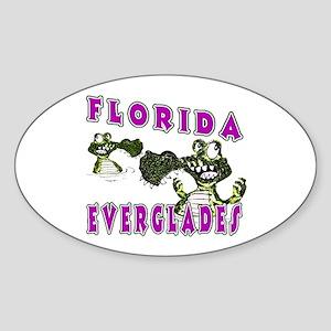 Florida Everglades Alligators Oval Sticker