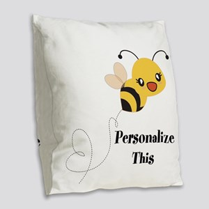 Personalized Cute Bumble Bee Burlap Throw Pillow