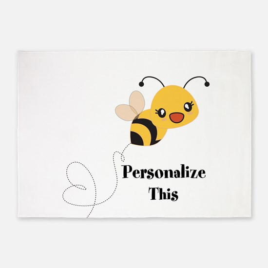 Personalized Cute Bumble Bee 5'x7'Area Rug