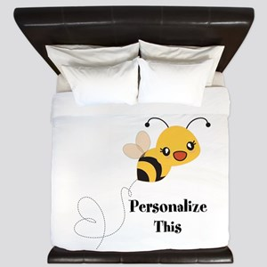 Personalized Cute Bumble Bee King Duvet