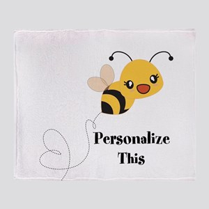 Personalized Cute Bumble Bee Throw Blanket