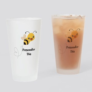 Personalized Cute Bumble Bee Drinking Glass