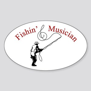 Fishin Musician Oval Sticker