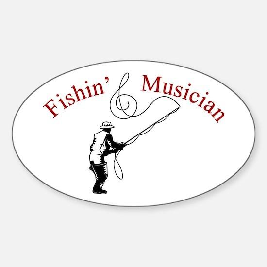 Fishin Musician Oval Decal