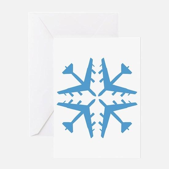 B-52 Aviation Snowflake Greeting Card