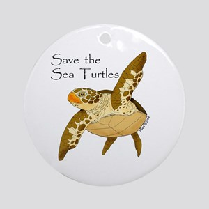 Save Sea Turtles Ornament (Round)