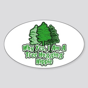 Tree Hugging Hippie Oval Sticker