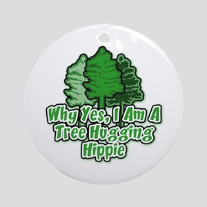 Tree Hugging Hippie Ornament (Round)