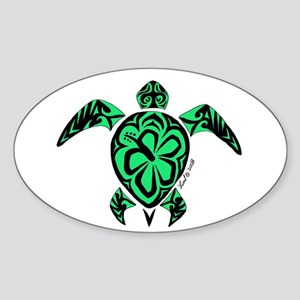 Tribal Turtle Oval Sticker