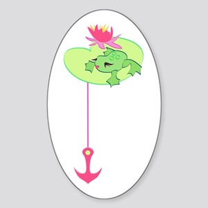 Miss Lady Frog Oval Sticker
