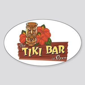 Tiki Bar is Open II - Oval Sticker