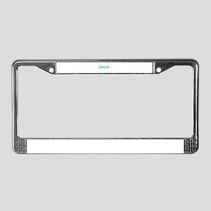 Simple peace words design License Plate Frame