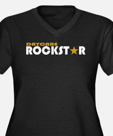 Daycare Rockstar Women's Plus Size V-Neck Dark T-S