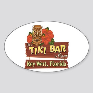Key West Tiki Bar - Oval Sticker