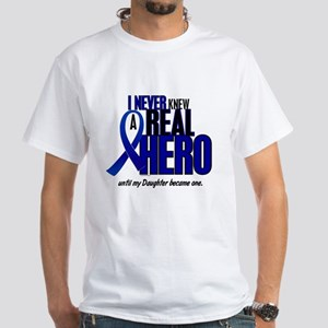 Never Knew A Hero 2 Blue (Daughter) White T-Shirt