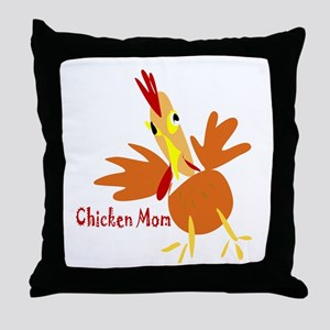 Chicken Mom Throw Pillow
