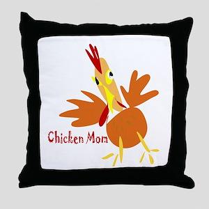 Chicken Mom Throw Pillow