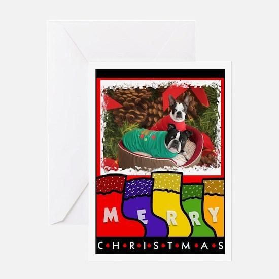 BOSTON DOGS CHRISTMAS Greeting Card