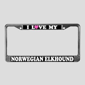 I Love My Norwegian Elkhound License Plate Frame