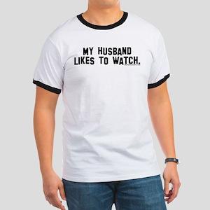 """My husband likes to watch."" Women's Pink T-Shirt"