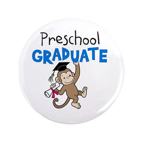 "Preschool Graduate - Monkey (Blue) 3.5"" Button"