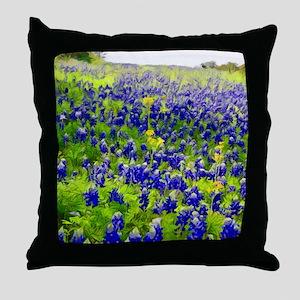 Hillside Bluebonnets Throw Pillow