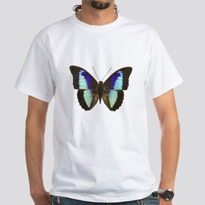 Blue Prepona Tropical Butterfly White T-Shirt
