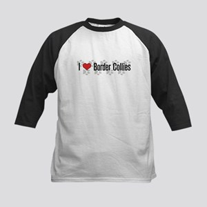 I heart Border Collies Kids Baseball Jersey