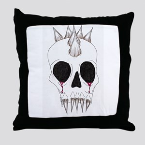Spike Skull Throw Pillow