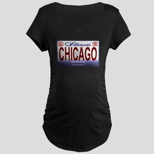 Chicago License Plate Maternity Dark T-Shirt