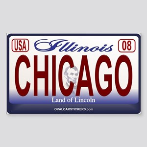 Chicago License Plate Rectangle Sticker