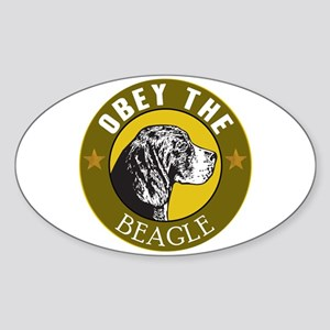 Obey The Beagle Oval Sticker
