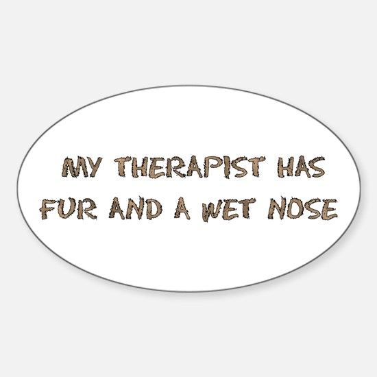 Furry Dog Therapist Oval Decal
