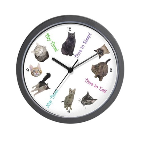 Time For Cats Wall Clock