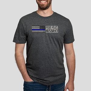 Police: Proud Husband (Black Flag Blue Line) T-Shi