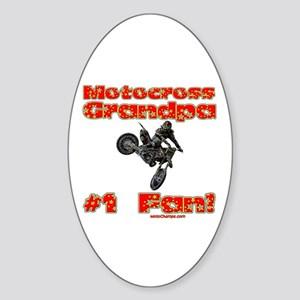 """Motocross Grandpa"" Oval Sticker"