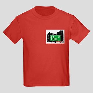 16th AVENUE, BROOKLYN, NYC Kids Dark T-Shirt