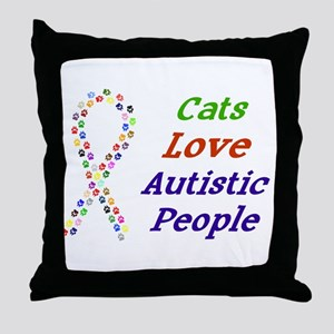 Cats Love Autistics Throw Pillow