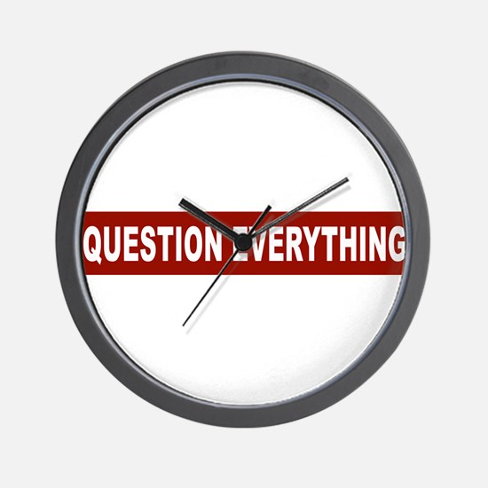Question Everything - Red Wall Clock