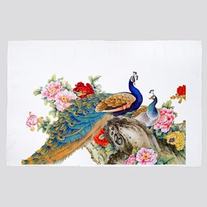 Traditional Chinese Peacocks 4' x 6' Rug