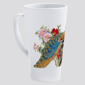 Traditional Chinese Peacocks 17 oz Latte Mug