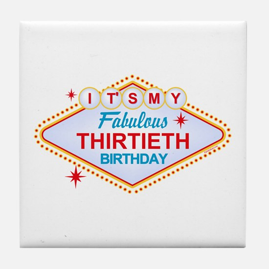 Las Vegas Birthday 30 Tile Coaster