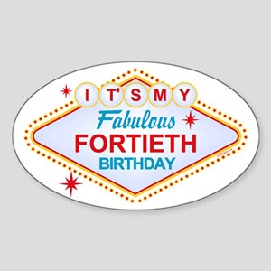 Las Vegas Birthday 40 Oval Sticker